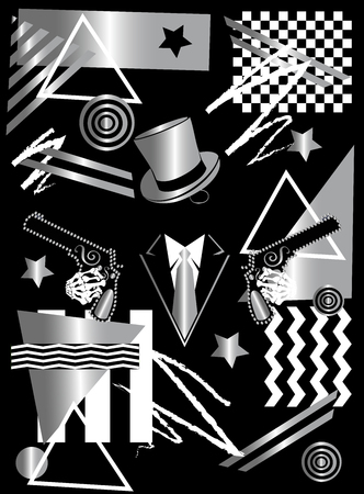 Gangster skull with cylinder hat and pistols. silver pop art background Archivio Fotografico - 120992336