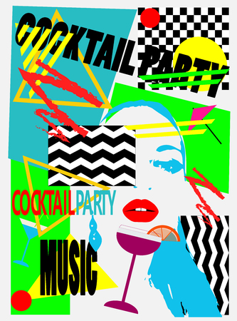 Cocktail party background pop art with a girl and martini glass Фото со стока
