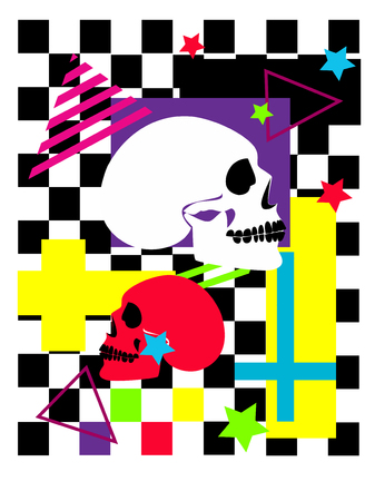 Skull colorful poster with inverted cross, cubes and stars, pop art background vector illustration Archivio Fotografico - 120992338