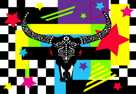 Bulls head with stars, pop art colorful background poster illustration