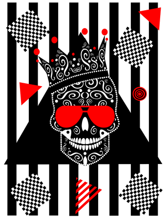 Card wih king skull icon and sunglasses, black and white stripes and red triangles Archivio Fotografico - 126567740