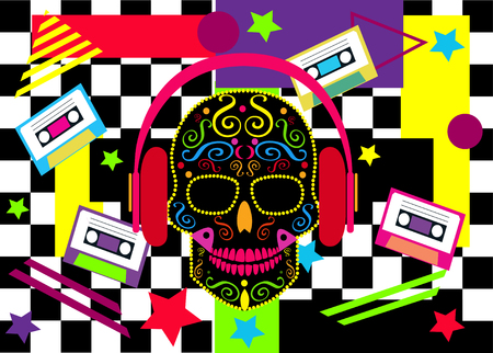 DJ skull icon vivid colors with headphones and cassette tapes Archivio Fotografico - 126567741