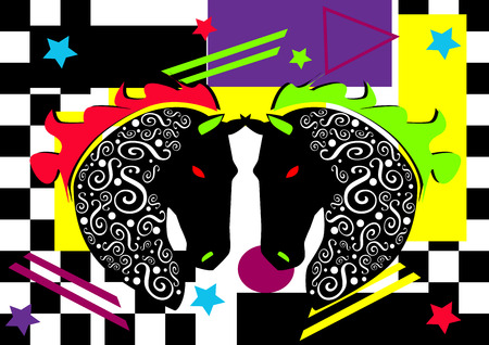 Abstract horses background, pop art vivid colors