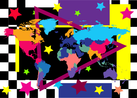 World map colorful pop art background with countries