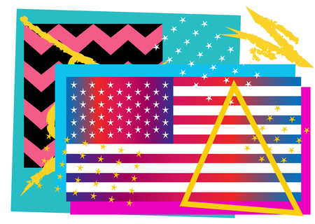 American flag, USA, symbol background with zig zag and stars, pop art poster pink