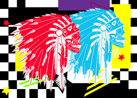 Indian skulls with mohawk, pop art colorful background vector illustratio