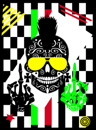 Punk skull with middle finger and Mohawk