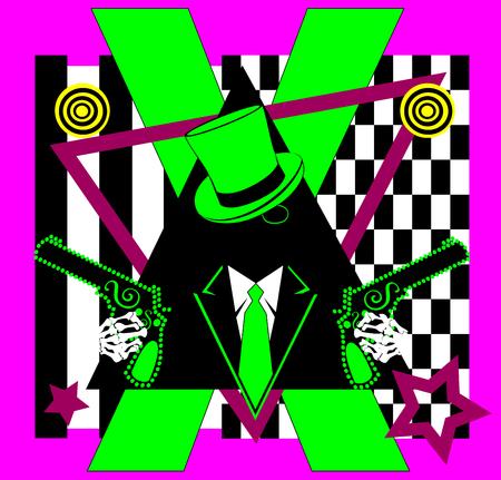 Gangster skull icon wih pistols neon background