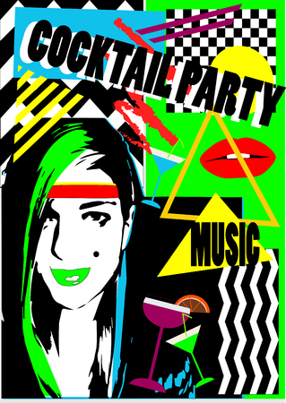 Cocktail party girl with lips and martini glass, pop art Archivio Fotografico - 126567762