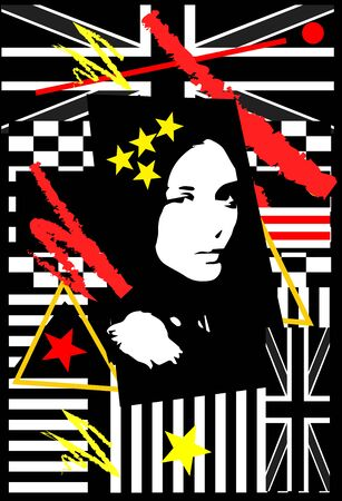 British flag with a qeen girl, pop art poster