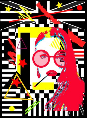 Girl with cigarette and sunglasess, british flag, colorful pop art background,