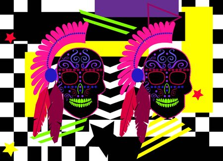 Pink indian skulls with feathers and mohawk, neon pop art background