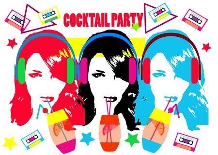 Summer cocktail party background with alcohol drinks girls and headphone beats, vector illustration Archivio Fotografico - 126567781