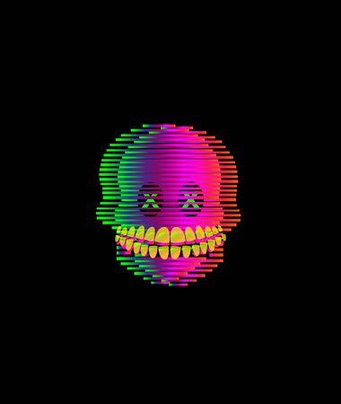 3D skull with vivid colors vector Иллюстрация