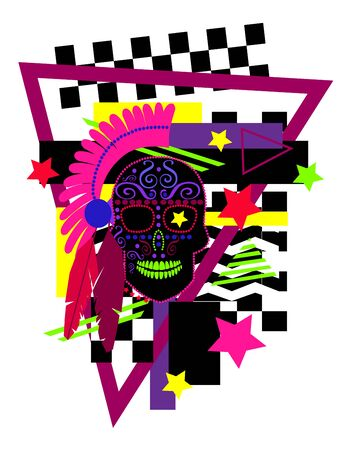 Indian skull icon vivid colors with feathers, geometric elements background