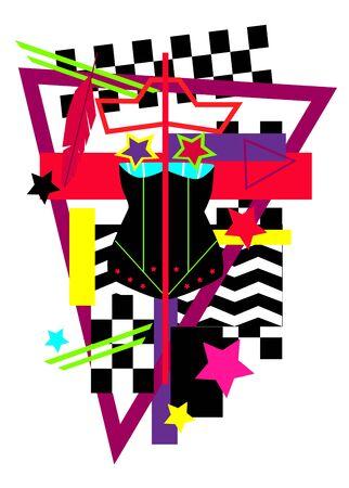 Female torso vivid colors with stars, pop art background