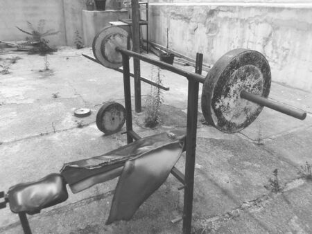 Vintage exercise machine, black and white photo Archivio Fotografico - 132043190