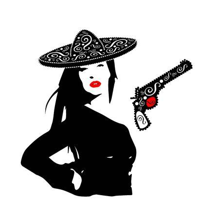 Mexican girl with pistol and sombrero ornament silhouette logo design