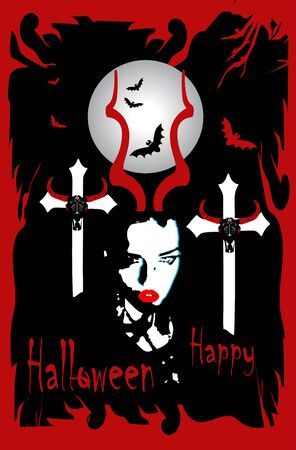 Happy Halloween background with a girl in the graveyard and bats, red and black 일러스트
