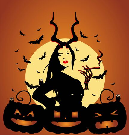 Happy Halloween background with a girl smoking, bats and pumpkins Иллюстрация