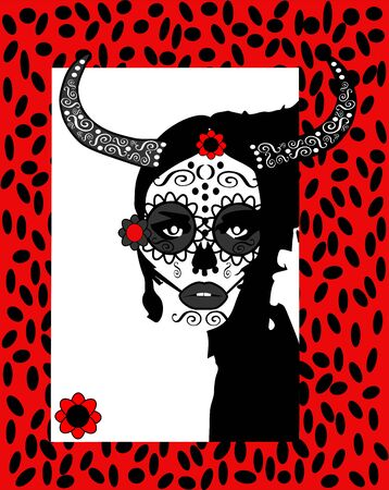 Day of the dead girl with red flower and horns background