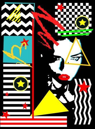 Girl with red lips, modern pop art background with vivid colors Ilustracja