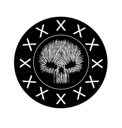Skull logo, icon in Black circle  vector illustration