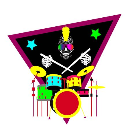 Skull icon playing drums, music background