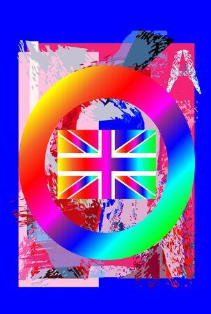 British flag poster, rainbow colors.