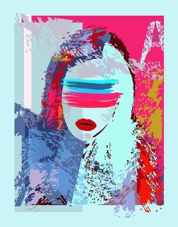 Blind girl colorful grunge background Иллюстрация