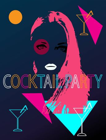 Summer Cocktail Party background with Girl and alcohol drinks Иллюстрация