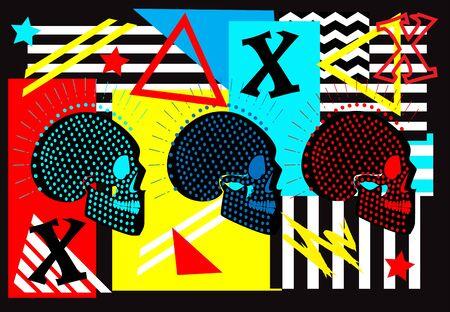 Neon punk skull on vivid colors background funky pop art Vettoriali