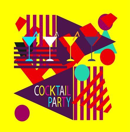 Cocktail party colorful background geometric abstract with martini glass.