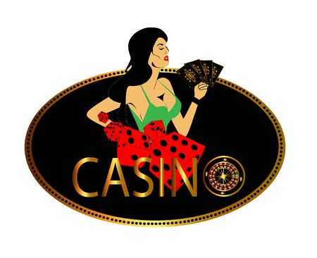 Casino logo with sexy girl, roulette wheel, cards and dices vector background
