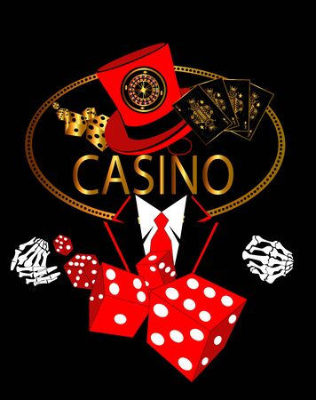 Casino logo gold with skull in tuxedo, roulette wheel, cards and dices vector background Foto de archivo - 149943017