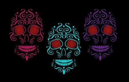 Skull vector background for fashion design, patterns, tattoos, day of the dead. Neon color hypnotic eyes