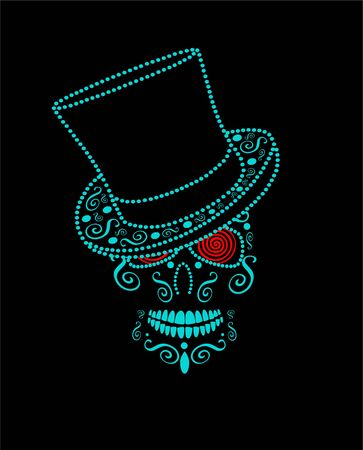 Neon blue Halloween Skull with cylinder hat and red hypnotic eyes, Mexican, Day of the Dead vector background 矢量图像