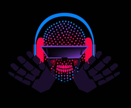 Skull icons robot DJ with headphones and hands , halftone neon color background