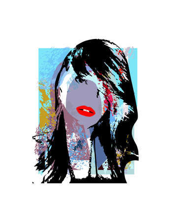 Punk sexy girl with red lips and pink hair, icon, pop art background