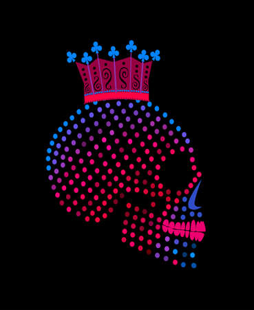 Joker king skull icon with crown, halftone neon colors background