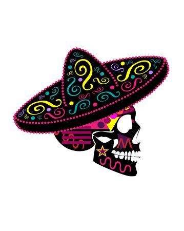 Mexican skull with sombrero, Colorful Day of the dead ornament and detailed vivid colors vector background. 矢量图像