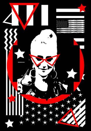 Punk rock girl silhouette with red sunglasses and American, USA flag vector background