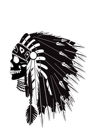 Indian skull wearing headdress with feathers, black and white vector background