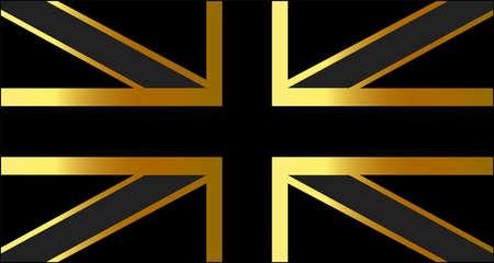 British flag gold shine color, vector background