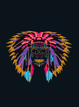 Neon Indian skull with feathers vivid colors vector background. eps 10 file + jpg file 矢量图像