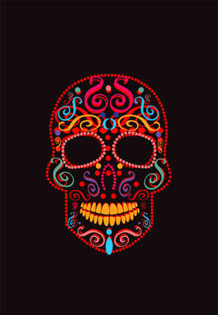Mexican skull red color with ornament details, Day of the dead.