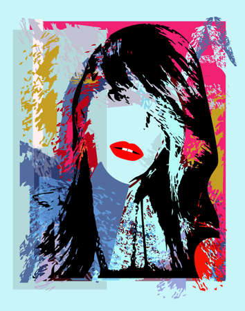 Urban background with girl with punk rock hair and red lips, vector.