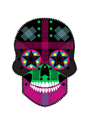 Skull with white teeth. Colorful and detailed vivid colors vector background. 矢量图像