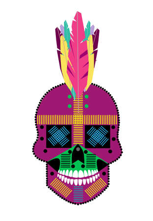 Colorful Indian skull icon on white background, with feathers.