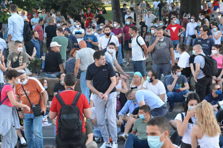 Protests in Belgrade, Serbia 9 july , 2020 year editorial, People with masks.